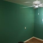 Painting and ceiling fan on room addition